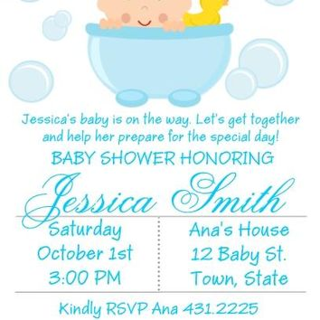 10 Bath Time Tub Baby Shower Invitations