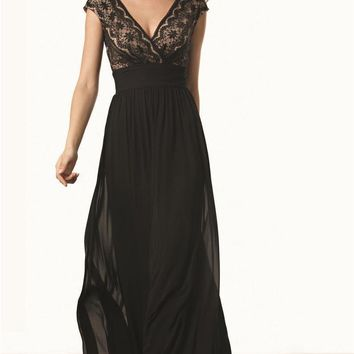 JS Collections - 863046 Cap Sleeve Lace Ruched Chiffon Dress