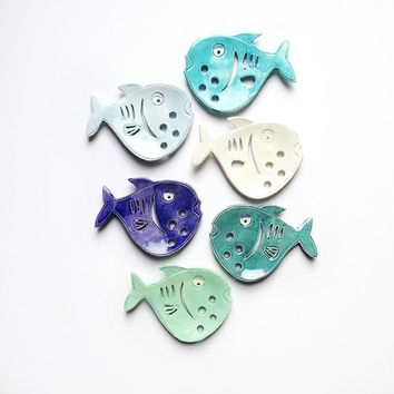 Baby Blue fish Ceramic Soap Dish - Fish Soap Dish for Beach Bath - Fish Bath Soap Dish - Primitive Soap Dish -  Ocean Soap Dish - Fish Decor
