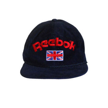Vintage Reebok 90s Snapback Hat Corduroy Hat Blue Hat Men Hat United Kingdom Flat Brim Hat Retro Hat Men Cap 1990s Hipster Hat Old School