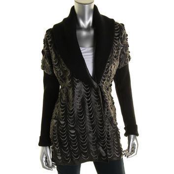 Catherine Malandrino Womens Faux Leather Applique Jacket