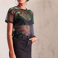 Silence + Noise Iridescent Shimmer Mesh Tee | Urban Outfitters