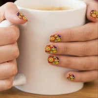 colorful absrtact minx nail art