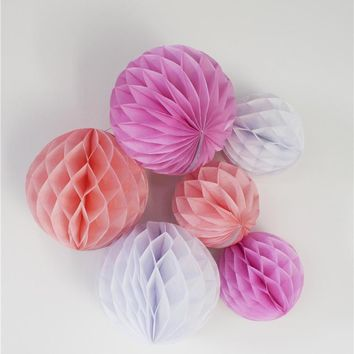Mixed Sizes 4/6/8/10/12inch Decorative Tissue Paper Flowers Honeycomb Balls Hanging Holiday Party Wedding Decors