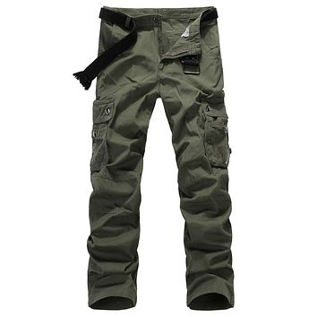 High quality Men Cargo Pants Military Army Pant 100% Cotton Khaki/Green/Black Large Size 29-38 Long trousers Free shipping