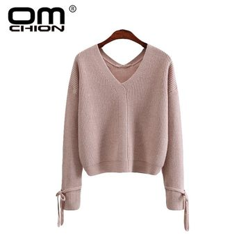 OMCHION Poleras Mujer 2018 Autumn Winter Deep V Neck Women Sweaters And Pullovers Harajuku Korean Knit Casual Bow Jumper LMM105