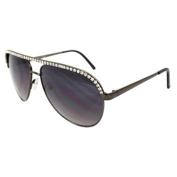 MLC Eyewear Pilot Fashion Aviator Sunglasses Black Frame Enchanted with Rhinestone Purple Black Lenses for Women