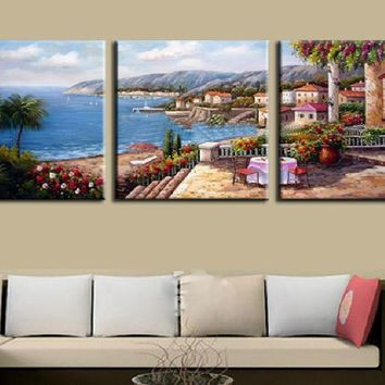 Mediterranean landscape sea canvas wall art panel print decor Framed UNframed