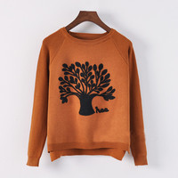 Brown Christmas Tree Asymmetrical Sweater