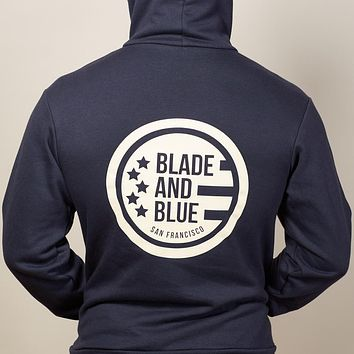 Navy Blade + Blue Crest Hoodie Sizes S, M & L Available