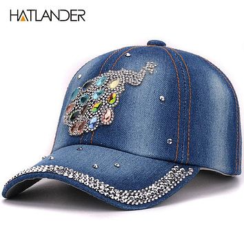 Kids rhinestones denim baseball caps children peacock outdoor hats jean baby girls boys casual cap hat