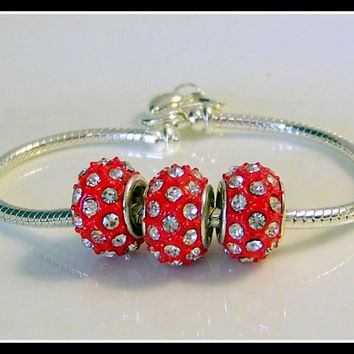 Beads Swarovski Pave Beads. beautiful Pave beads, pave crystals, polka dot beads, beading supplies, red beads, jewelry supplies, large hole