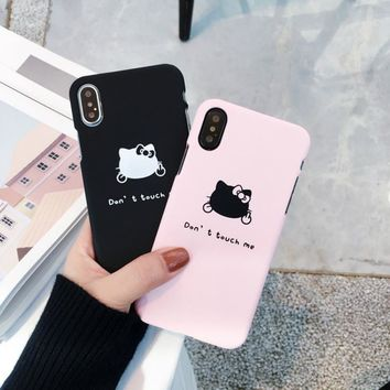 Phone Case with cat hello kitty for iphone 7 accessories Cool Middle finger Cat Cover coque For iPhone X 6 s 8 Plus cases cover
