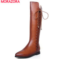 MORAZORA Large size 34-43 boots for women 2017 hot sale knee high boots in spring autumn solid western boots solid