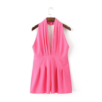 Summer Women's Fashion Sexy V-neck Backless Jumpsuit [4918853700]