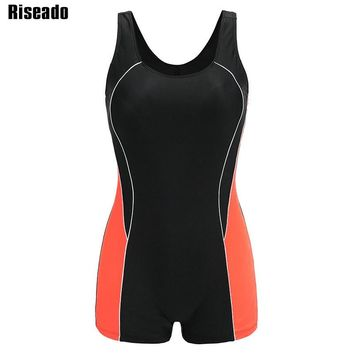 Riseado Training One Piece Swimsuit 2018 Sport Swimwear Women Splice Open Back Boyshorts Bathing Suits Summer Beachwear
