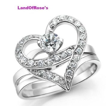 Famous bridal design Luxury wedding double heart in 1 women men couple rings Gold Color rhinestone Ring jewelry