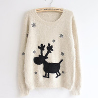 Snowflake Christmas Reindeer Mohair Pullover Sweater from Showmall