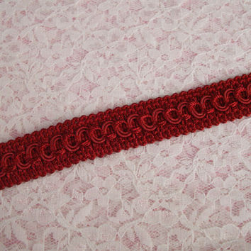 "Red Woven Circle Braid Trim, 3/4"" Wide, Home Decor, Upholstery Trim, Decorative Pillows, Costumes, Passementerie Trim, 2 YARDS"
