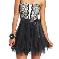 As U Wish Juniors Dress, Strapless Lace Tulle Sweetheart - Juniors Dresses - Macy's