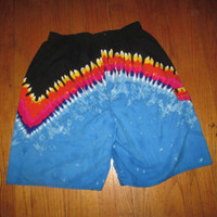 FREE SHIPPING FLAMING vtg 80s 90s Retro surf swim trunk 2x xxl swimsuit shorts men O vintage