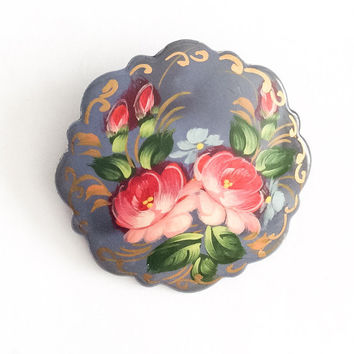 Russian Art Deco Pin, Pink Roses, Grey, Lacquered, Vintage Jewelry