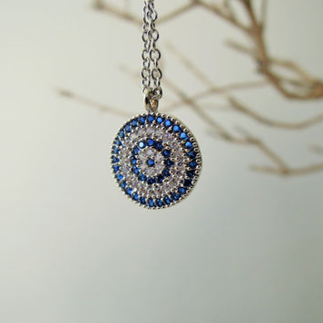 blue necklace - bridesmaid gift - Turkish jewelry - Evil eye necklace - evil eye jewelry - kaballah jewelry - girlfriend gift - mom gift