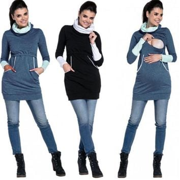 Women Winter Maternity Pregnancy Clothes Nursing Long Sleeve Pockets Tops Sweatshirt