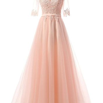 US Women's Long Prom Dresses Applique Bridesmaid Gown Short Sleeve