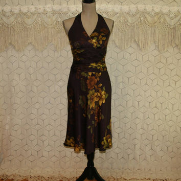 Floral Print Silk Dress Halter Dress Midi Sexy Summer Dress Small Womens Dress Plum Purple Gold Jones New York Size 6 Dress Womens Clothing