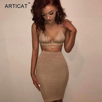 Articat Sexy Shiny Bandage Bodycon Dresses Summer Lace Up Two Piece Party Dresses Deep V Neck Skinny Club Outfits Vestidos