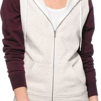 Zine Grey & Blackberry Colorblock Zip Up Hoodie
