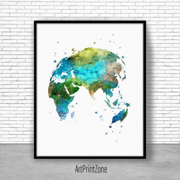 Globe Art Print, Asia Print, Asia Art, Globe Print, Globe Decor, World Map Poster, World Map Wall Art, World Map Print, World Map Decor