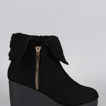 Bamboo Suede Faux Fur Cuff Wedge Bootie