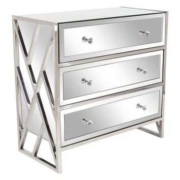 Decmode Modern Wood and Metal 3-Drawer Mirrored Console, Silver - Walmart.com