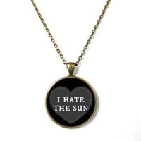 QIYIF 90s soft grunge pastel goth black nu goth conversation heart i hate the sun necklace