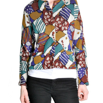 Missoni Vintage 'Patchwork' Print Knit Cardigan Sweater