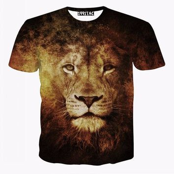 3D Lion Printed Funny T Shirts