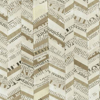 Quilting Fabric Multi Broken Chevron by Carrie Bloomston Story Collection Newspaper Print per Half Yard