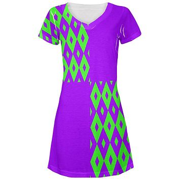 Mardi Gras Party Purple and Green Juniors V-Neck Beach Cover-Up Dress