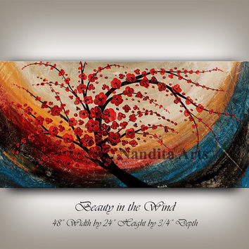 Abstract Floral Painting Wall Art Decor, Red Flower Tree Art Landscape Painting, Large Room or Office Artwork  Canvas Art Online Gallery