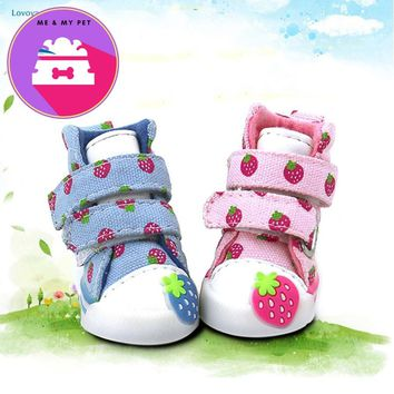 Lovoyager Pet Accessories Strawberry Cute Small Dogs Shoes Soft Warm Velvet Chihuahua Dog Boots Teddy  Puppy Sneaker pink/blue