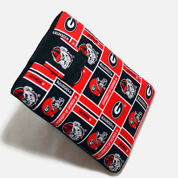 Hand Crafted Tablet Case From Licensed UGA Bulldogs Football Fabric / Case for: iPad Mini,Kindle Fire HD, Samsung Galaxy , Nook HD