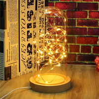 USB Powered Wire LED Fairy String Light Desk Table Lamp Night Light Wood Base Bedroom Home Room Decoration Kids Gift 220V