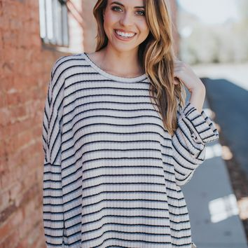 Amber Striped Knit Top, Beige/Black