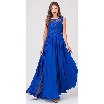 Royal Blue Floor Length Formal Dress Lace Illusion Bodice
