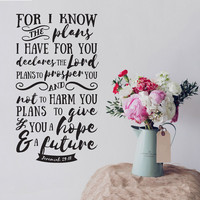 For I Know The Plans I Have For You Verse - Jeremiah 29:11