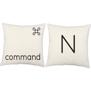 Computer Pillow Set - Keyboard Pillows, Command N Cotton Throw Pillow Covers and or Cushions, Techie, Nerd Life, Programmer Gift, Geek Decor