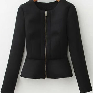 Black Peplum Coat