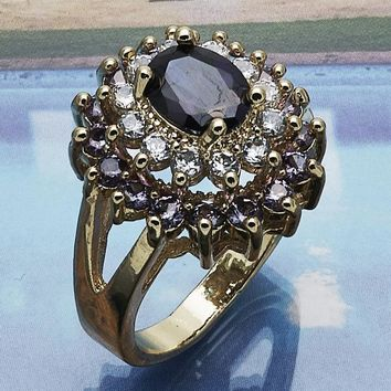 Gold Layered Women Multi Stone Ring, with Amethyst Cubic Zirconia, by Folks Jewelry